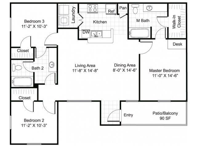 3 bedroom 2 bathroom apartment C1 floor plan at Brynwood Apartments in San Antonio, TX