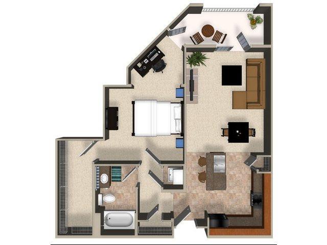 One bedroom one bathroom A4 Floorplan at Sanctuary Apartments in Renton, WA