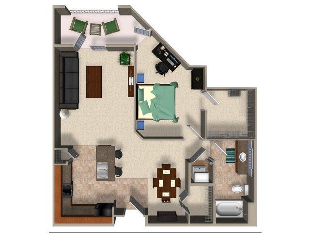 One bedroom one bathroom A5 Floorplan at Sanctuary Apartments in Renton, WA