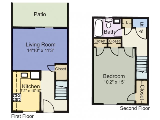 One bedroom one bathroom apartment A1 floorplan at Courthouse Green Apartments in Chesterfield, VA