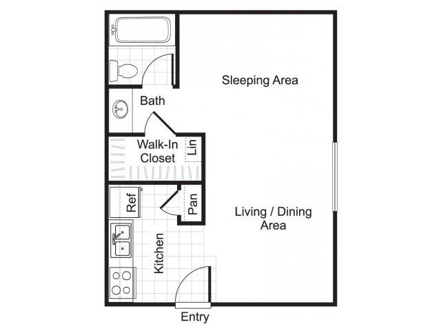 Studio one bathroom E1 floorplan at Woodtrail Apartments in Houston, TX