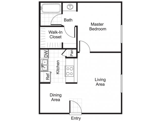 One bedroom one bathroom A1 floorplan at Woodtrail Apartments in Houston, TX