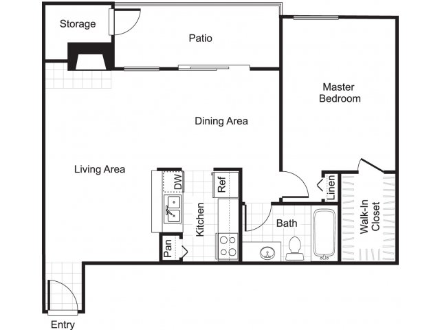 One bedroom one bathroom A3 floorplan at Woodtrail Apartments in Houston, TX
