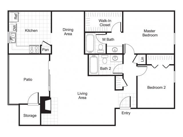 Two bedroom two bathroom B2 floorplan at Woodtrail Apartments in Houston, TX