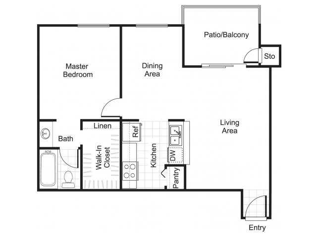 One bedroom one bathroom A2 floorplan at Woodtrail Apartments in Houston, TX
