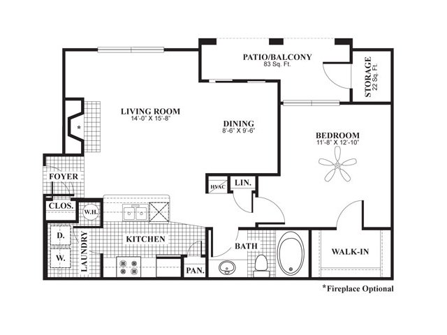 1 bedroom 1 bathroom apartment home floor plan at The Preserve at Mobbly Bay Apartments in Tampa, FL