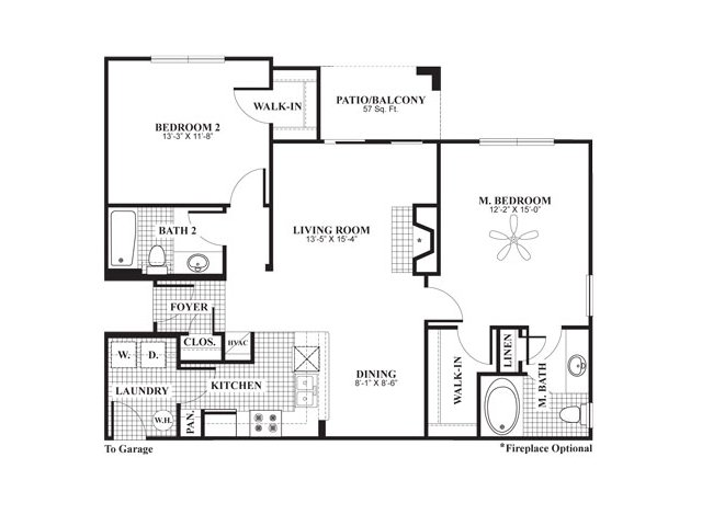 2 bedroom 2 bathroom apartment home floor plan at The Preserve at Mobbly Bay Apartments in Tampa, FL