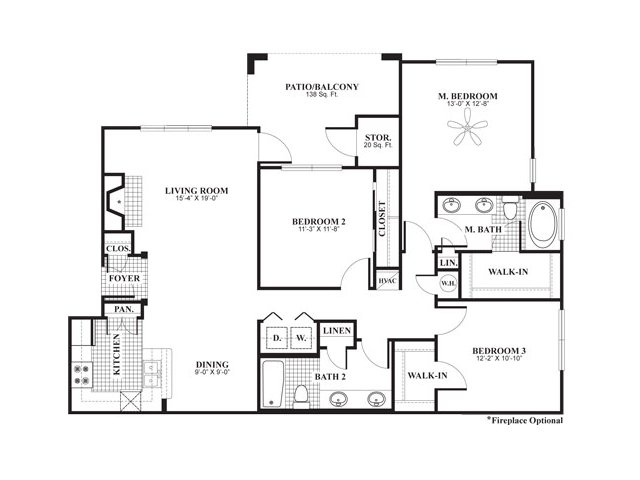 3 bedroom 2 bathroom apartment home floor plan at The Preserve at Mobbly Bay Apartments in Tampa, FL