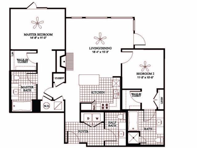Two bedroom three bathroom B2HC floorplan at 597 Westport in Norwalk, CT