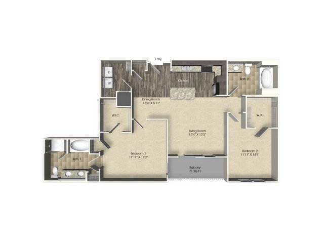 2 bedroom 2 bathroom apartment B3 floor plan at The Views at Harbortown Apartments in Jacksonville, FL