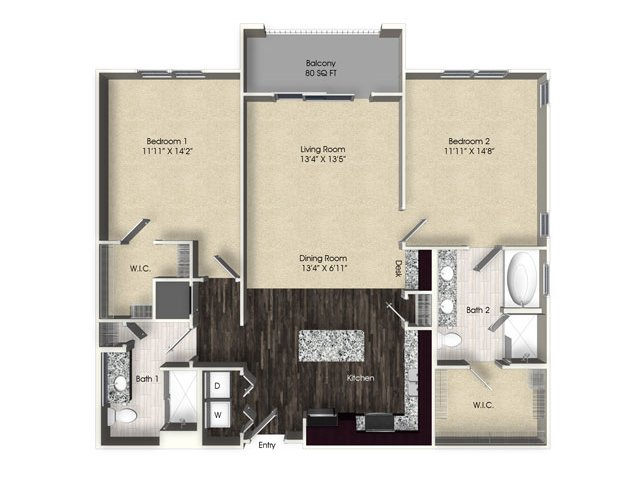 2 bedroom 2 bathroom apartment B4 floor plan at The Views at Harbortown Apartments in Jacksonville, FL
