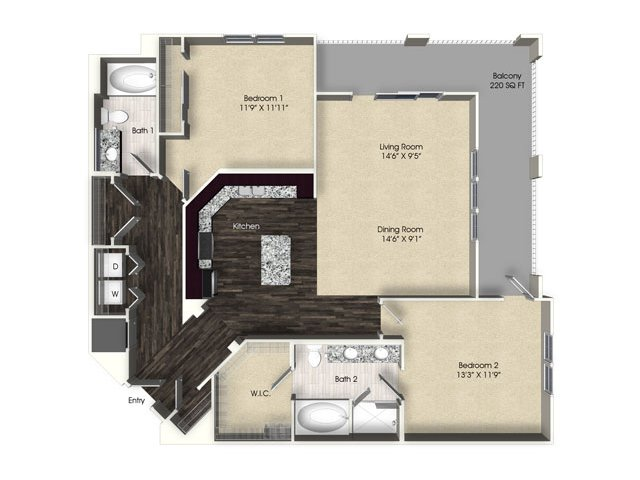 2 bedroom 2 bathroom apartment B6 floor plan at The Views at Harbortown Apartments in Jacksonville, FL