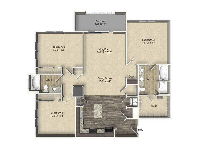 3 bedroom 2 bathroom apartment C1 floor plan at The Views at Harbortown Apartments in Jacksonville, FL