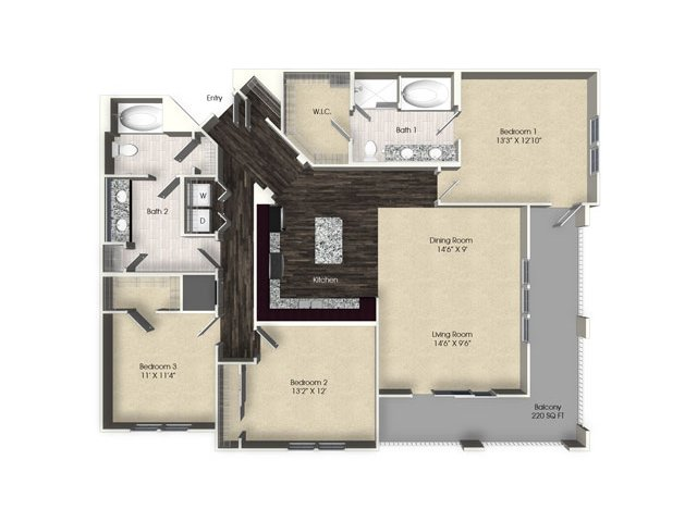 3 bedroom 2 bathroom apartment C2 floor plan at The Views at Harbortown Apartments in Jacksonville, FL