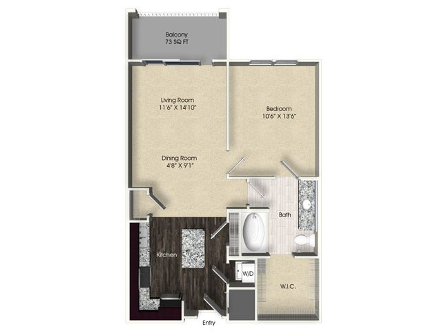 1 bedroom 1 bathroom apartment A1 floor plan at The Views at Harbortown Apartments in Jacksonville, FL