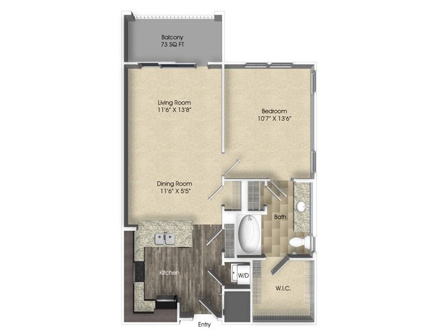 1 bedroom 1 bathroom apartment A2 floor plan at The Views at Harbortown Apartments in Jacksonville, FL