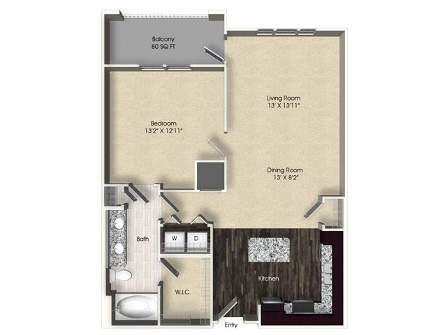 1 bedroom 1 bathroom apartment A3 floor plan at The Views at Harbortown Apartments in Jacksonville, FL