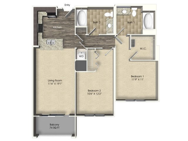 2 bedroom 2 bathroom apartment B1 floor plan at The Views at Harbortown Apartments in Jacksonville, FL