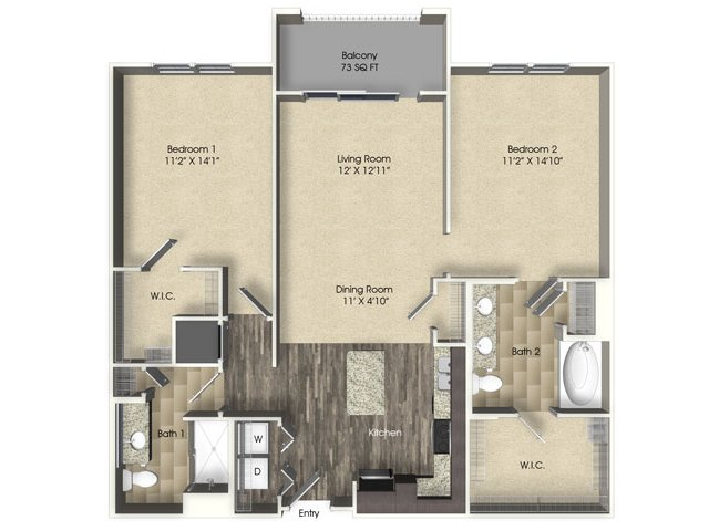 2 bedroom 2 bathroom apartment B2 floor plan at The Views at Harbortown Apartments in Jacksonville, FL