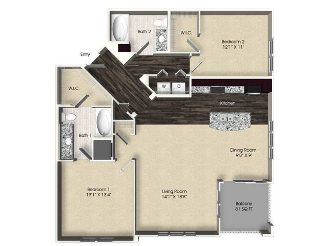 2 bedroom 2 bathroom apartment B5 floor plan at The Views at Harbortown Apartments in Jacksonville, FL