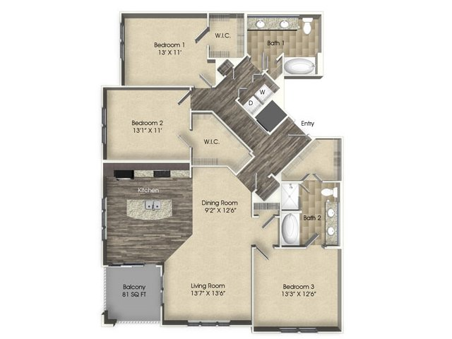 3 bedroom 2 bathroom apartment C3 floor plan at The Views at Harbortown Apartments in Jacksonville, FL