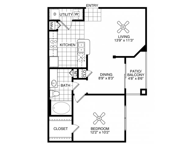 One bedroom one bathroom A1 floorplan at Villas of Vsita Ridge Apartments in Lewisville, TX