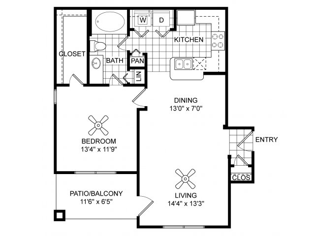 One bedroom one bathroom A2 floorplan at Villas of Vsita Ridge Apartments in Lewisville, TX