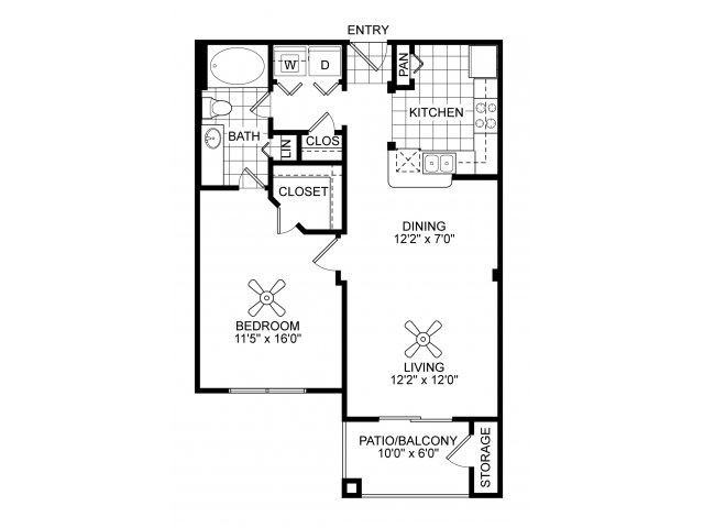 One bedroom one bathroom A3 floorplan at Villas of Vsita Ridge Apartments in Lewisville, TX