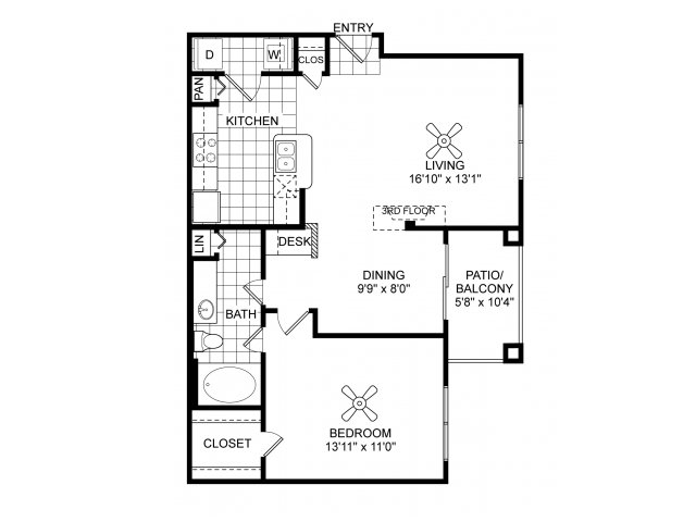One bedroom one bathroom A4 floorplan at Villas of Vsita Ridge Apartments in Lewisville, TX