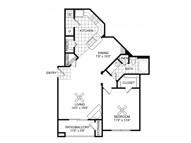 One bedroom one bathroom A5 floorplan at Villas of Vsita Ridge Apartments in Lewisville, TX