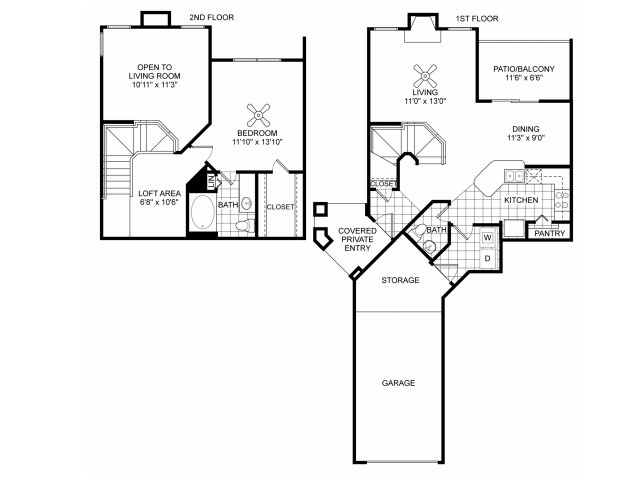One bedroom one and a half bathroom A6 floorplan at Villas of Vsita Ridge Apartments in Lewisville, TX