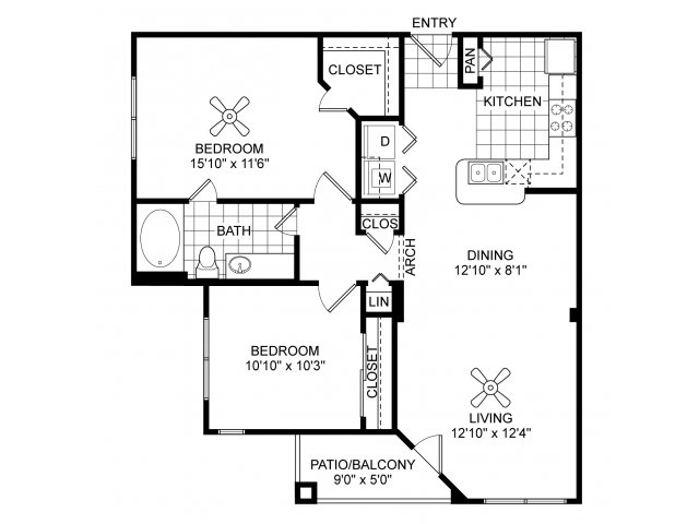 Two bedroom one bathroom B1 floorplan at Villas of Vsita Ridge Apartments in Lewisville, TX
