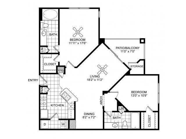 Two bedroom two bathroom B3 floorplan at Villas of Vsita Ridge Apartments in Lewisville, TX