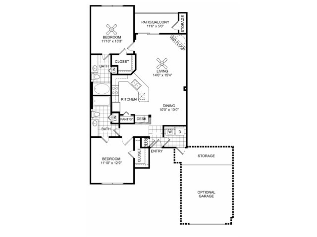 Two bedroom two bathroom B4 floorplan at Villas of Vsita Ridge Apartments in Lewisville, TX