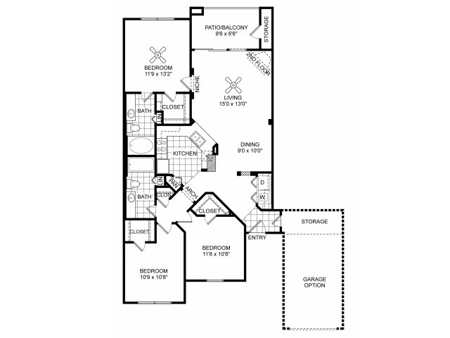 Three bedroom two bathroom C1 floorplan at Villas of Vsita Ridge Apartments in Lewisville, TX