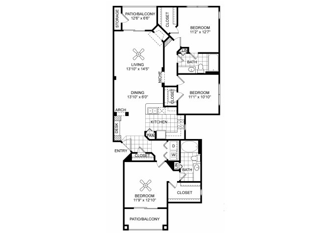 Three bedroom two bathroom C2 floorplan at Villas of Vsita Ridge Apartments in Lewisville, TX