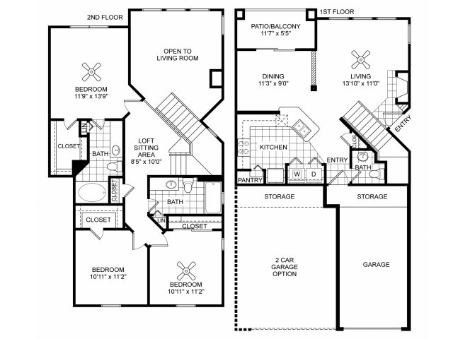 Three bedroom two and a half bathroom C3 floorplan at Villas of Vsita Ridge Apartments in Lewisville, TX