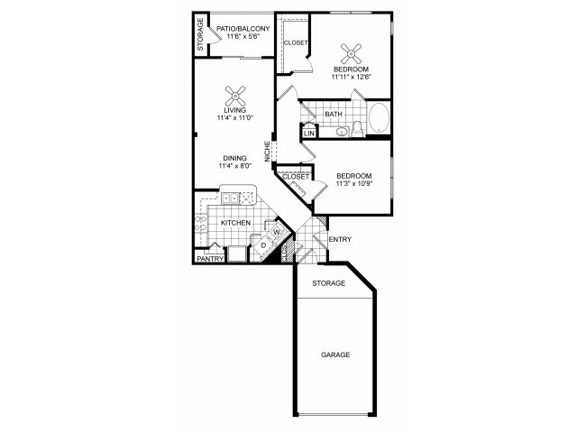Two bedroom one bathroom B2 floorplan at Villas of Vsita Ridge Apartments in Lewisville, TX