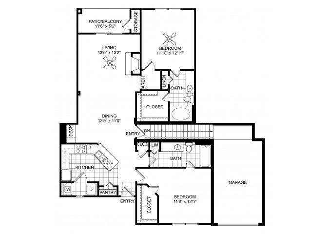 Two bedroom two bathroom B5 floorplan at Villas of Vsita Ridge Apartments in Lewisville, TX