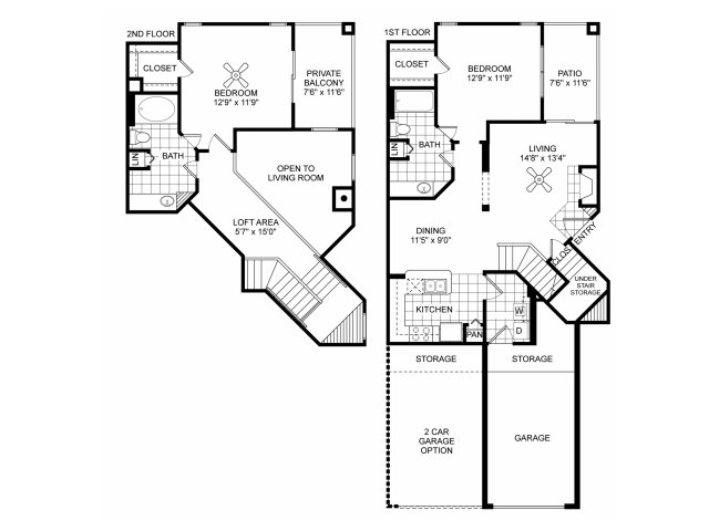 Two bedroom two bathroom B6 floorplan at Villas of Vsita Ridge Apartments in Lewisville, TX