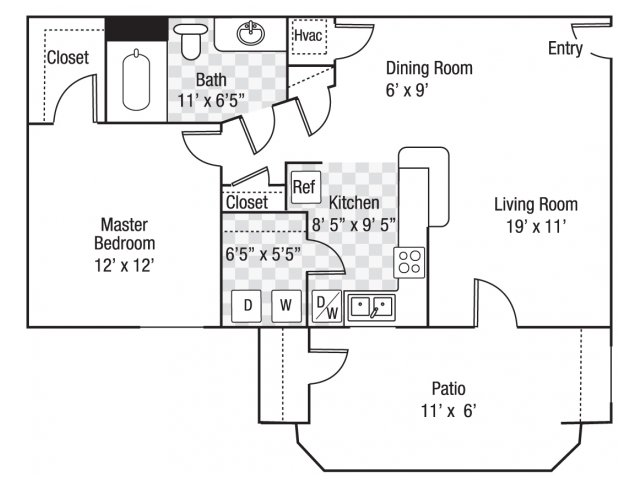 1 bedroom 1 bath A1 floor plan at Berkeley Place Apartments in Charlotte, NC