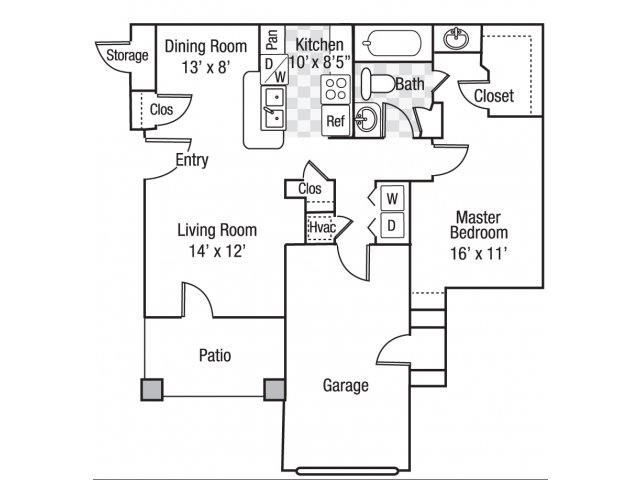 1 bedroom 1 bath A3 floor plan at Berkeley Place Apartments in Charlotte, NC