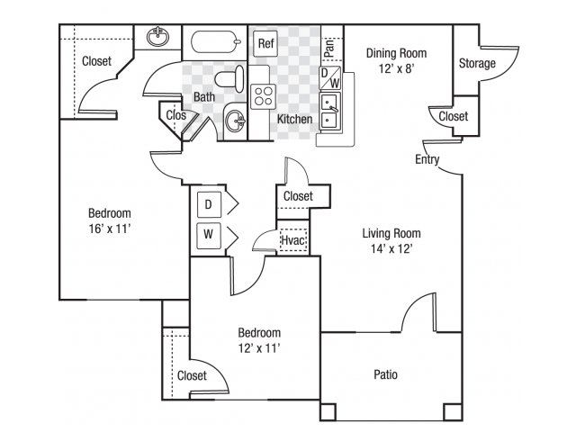 2 bedroom 1 bath B1 floor plan at Berkeley Place Apartments in Charlotte, NC
