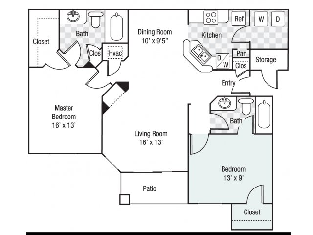 2 bedroom 2 bath B2 floor plan at Berkeley Place Apartments in Charlotte, NC