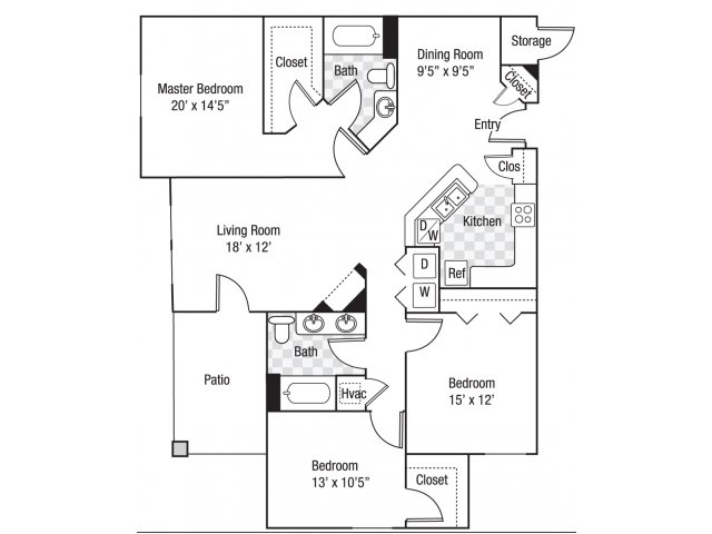 3 bedroom 2 bath C1 floor plan at Berkeley Place Apartments in Charlotte, NC