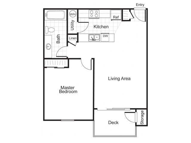 One bedroom one bathroom A1 Floorplan at Newberry Square Apartments in Lynnwood, WA