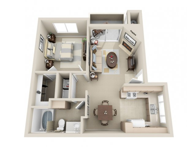 One bedroom one bathroom A1 Floorplan at Lakeview at Superstition Springs Apartments in Mesa, AZ