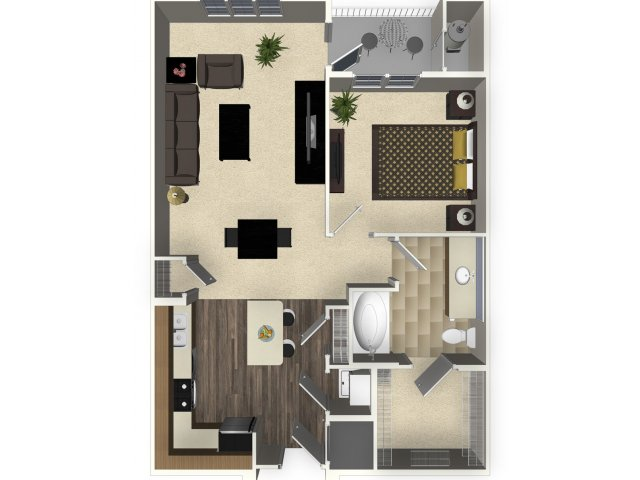 1 bedroom 1 bathroom apartment A1 floorplan at Venue Apartments in San  Jose  CA. Studio  1  2  and 3 bedroom apartments in San Jose  CA   Venue