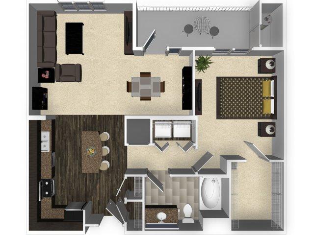 1 bedroom 1 bathroom apartment A3 floorplan at Venue Apartments in San Jose, CA