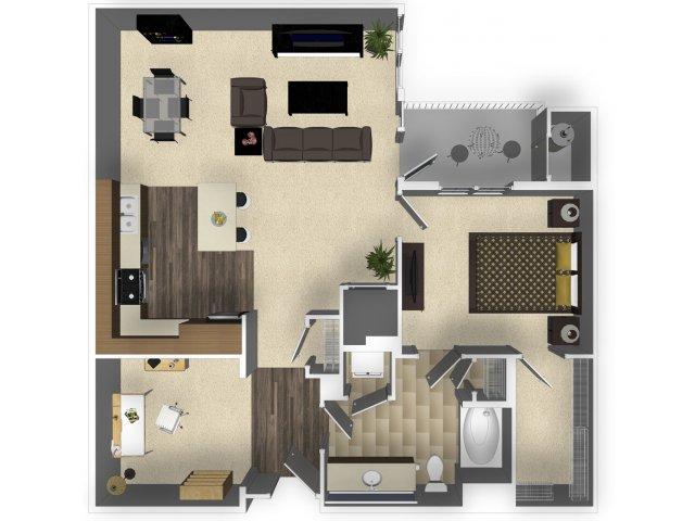 1 bedroom 1 bathroom apartment A4 floorplan at Venue Apartments in San Jose, CA